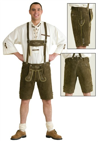 Leather pants Oktoberfest olive green  real leather with embroidery
