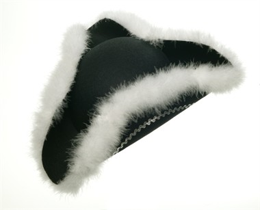 Three-cornered hat marabou black/silver, one size