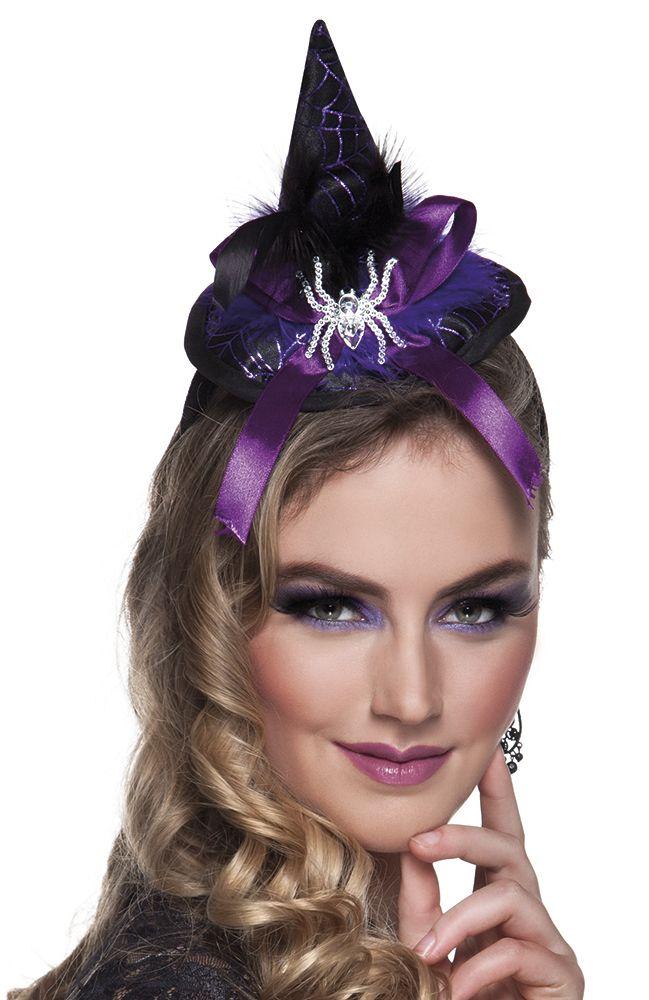 Haarreif Hexenhut Auge blau lila Accessoire Halloweenn