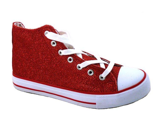 Schuhe Rot Glitzer Halbhoch Gr 38