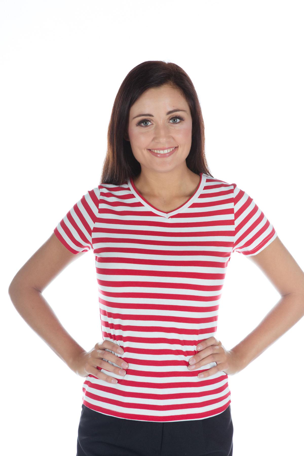 Genoeg Gestreept shirt girlie rood/wit bij karnevalswierts.com OP49