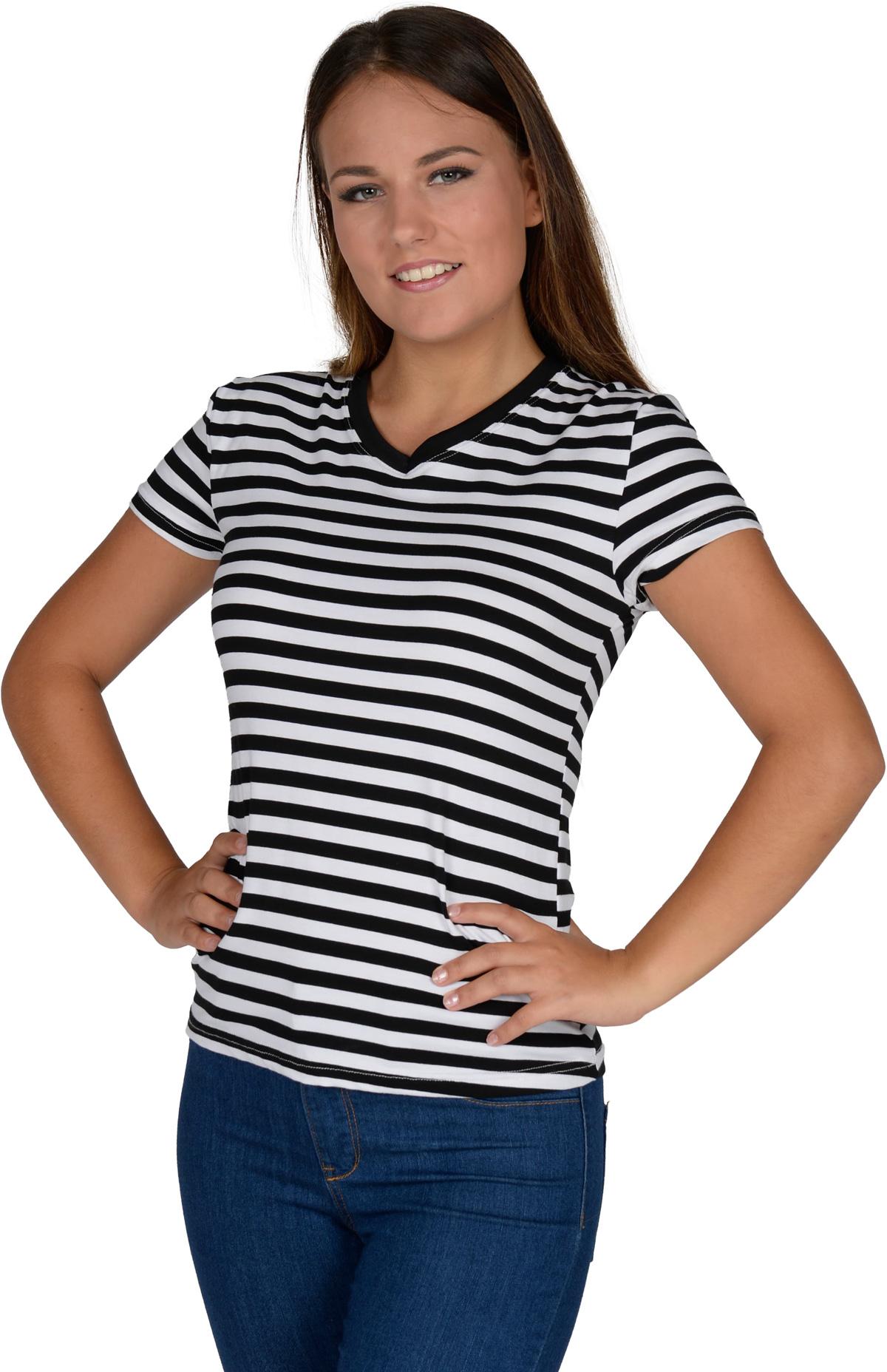 Uitzonderlijk T-shirt gestreept girlie zwart/wit bij karnevalswierts.com &WY56