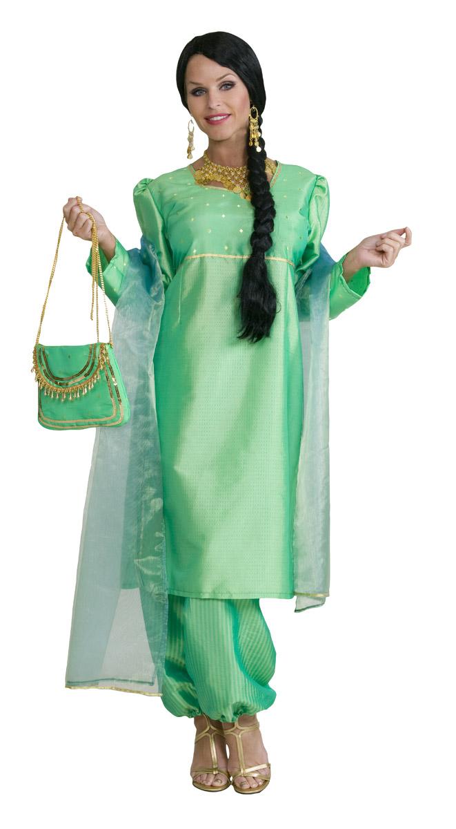 online hier beste Qualität für auf Füßen Aufnahmen von Bollywood Dame Grün (Kleid,Hose,Schal)